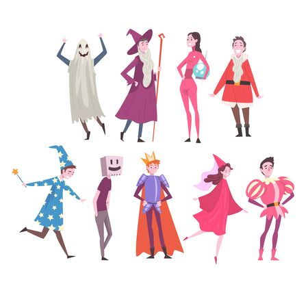 People in Festival Costumes Set, Person Taking Part at Carnival Party, Masquerade Ball or Holiday Celebration Vector Illustration