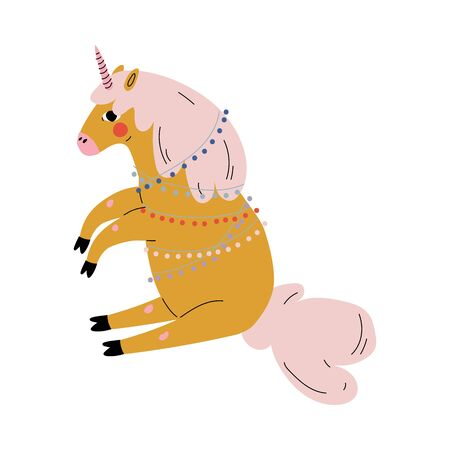Cute Sitting Unicorn, Adorable Fantasy Animal Character, Side View Vector Illustration
