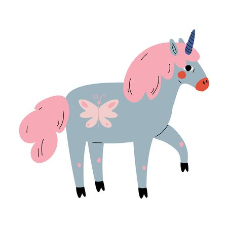 Cute Unicorn, Adorable Fantasy Animal Character in Pastel Colors, Side View Vector Illustration