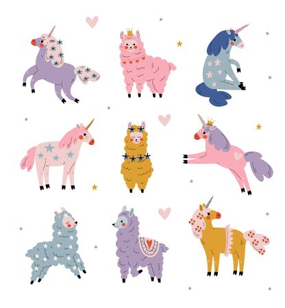 Cute Llamas and Unicorns Set, Adorable Animals Characters in Pastel Colors Vector Illustration 일러스트