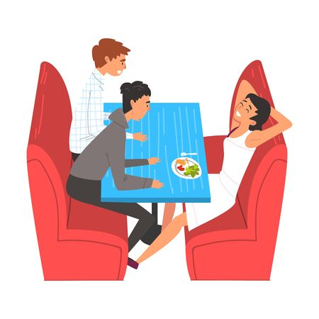 Teenager Boys Eating and Talking in Food Court in Shopping Mall Vector Illustration on White Background. Stock Illustratie