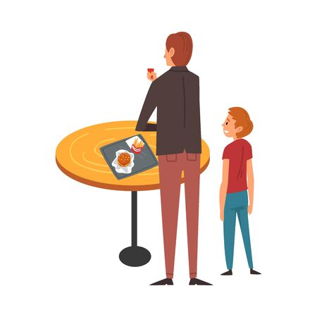 Father and Son Standing near Table and Eating in Food Court in Shopping Mall Vector Illustration