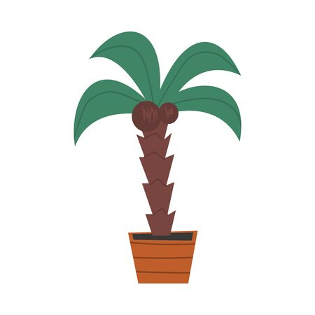 Palm Tree in Flower Pot, Plant for Interior Decorating Vector Illustration 일러스트