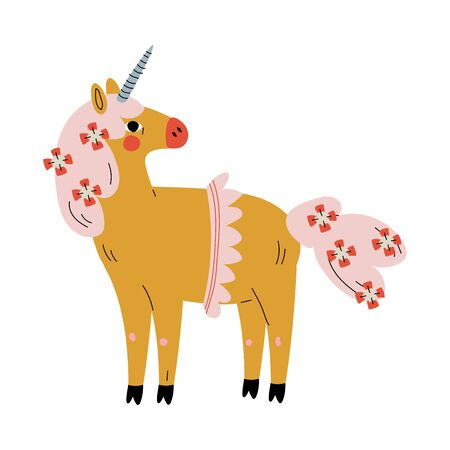 Cute Unicorn, Adorable Fantasy Animal Character, Side View Vector Illustration