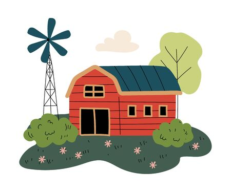Red Wooden Barn and Windmill Power Station, Countryside Landscape Vector Illustration