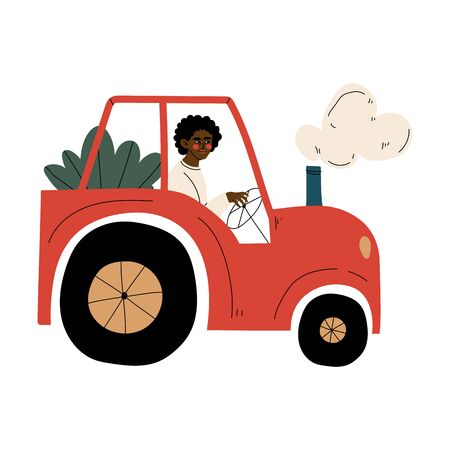 Male African American Farmer Driving Tractor with Seedlings Vector Illustration