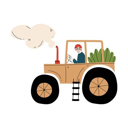 Male Farmer Driving Tractor with Seedlings Agricultural Worker at Farm Vector Illustration on White Background.
