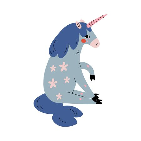 Cute Sitting Unicorn, Adorable Fantasy Animal Character in Blue Colors, Side View Vector Illustration 일러스트