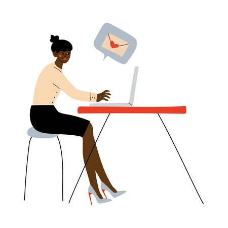 Online Dating, Beautiful African American Girl Using Laptop for Dating or Searching for Partner, Young Woman Sending Romantic Message to Her Boyfriend Vector Illustration on White Background.  イラスト・ベクター素材