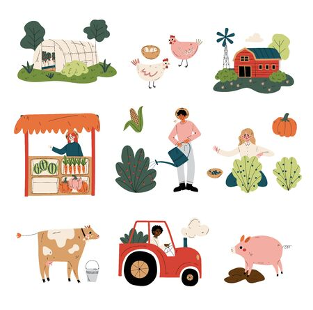 People Working at Farm and Garden Set, Agricultural Workers Gathering Crop, Selling Vegetables, Husbandry and Poultry Breeding Vector Illustration