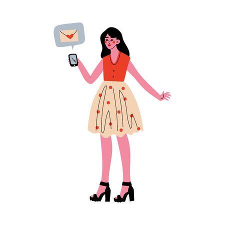 Online Dating, Girl Using Mobile Application for Dating or Searching for Romantic Partner, Girl Sending Message to Her Boyfriend Vector Illustration