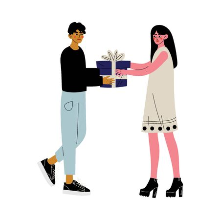 Young Man Giving Gift Box to Beautiful Girl, People Celebrating Holidays, Best Friends Vector Illustration