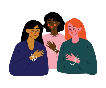 Three Beautiful Young Woman Talking to Each Other, Female Friendship, Friends Spending Time Together Vector Illustration