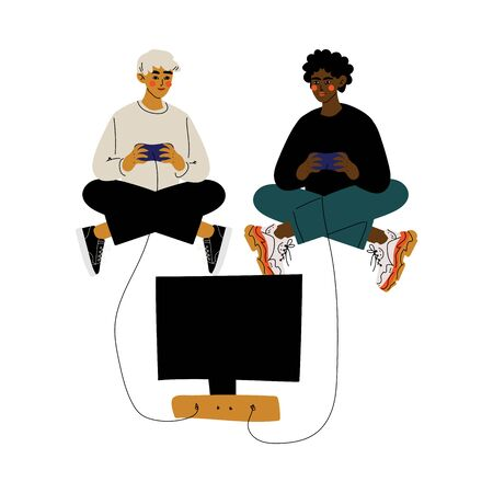 Two Young Men Sitting on Floor with Crossed Legs and Playing Video Games, Male Friendship, Friends Spending Time Together Vector Illustration on White Background.