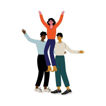 Two Guys and Girl Having Fun Together, Two Young Men Holding Young Woman on Their Shoulders, Friends Spending Time Together Vector Illustration 일러스트