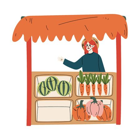 Young Woman Selling Fresh Vegetables at Farmers Market, Fresh Natural Organic Products on Counter Vector Illustration