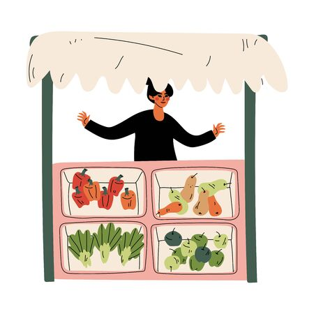 Female Seller Selling Fresh Vegetables at Farmers Market, Fresh Natural Organic Products on Counter Vector Illustration