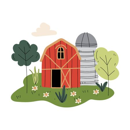 Red Wooden Barn and Silo Tower, Farm Buildings, Rural Landscape Vector Illustration on White Background.