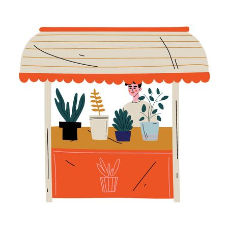 Young Man Selling House Plants at Marketplace Vector Illustration Archivio Fotografico - 129711693