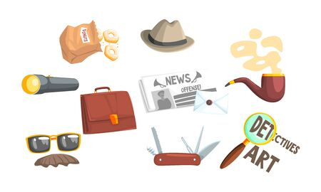 Private Detective Tools Set, Pocket Knife, Magnifying Glass, Smoking Pipe, Briefcase, Flashlight Vector Illustration