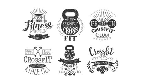 Crossfit Premium Athletics Retro Labels Set, Fitness Workout Vintage Emblems Vector Illustration  イラスト・ベクター素材