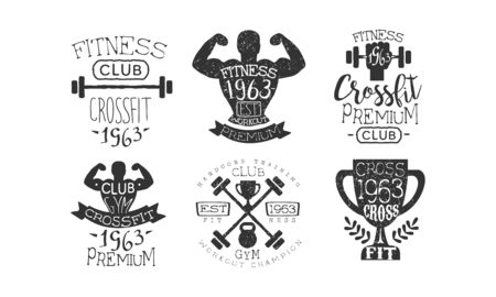 Crossfit Club Retro Labels Set, Fitness Workout Premium Emblems Vector Illustration