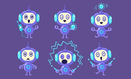 Cute Robot Character Set, Adorable Robotics in Different Poses and Various Emotions Vector Illustration  イラスト・ベクター素材