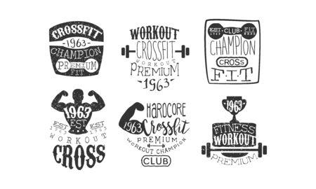 Crossfit Champion Retro Labels Set, Fitness Workout Emblems Vector Illustration Illustration