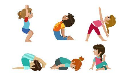 Bambini svegli che eseguono ginnastica e set di esercizi di yoga, attività fisica e illustrazione vettoriale di stile di vita sano
