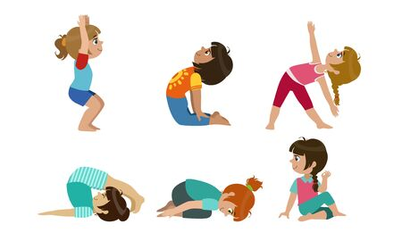 Cute Kids Performing Gymnastics And Yoga Exercises Set, Physical Activity and Healthy Lifestyle Vector Illustration