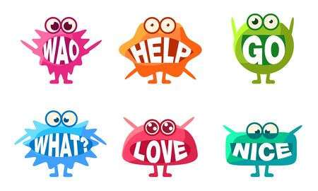 Cute Monsters Characters Set, Colorful Emojis with Words In Their Mouths, Wao, Help, Go, What, Love, Nice Vector Illustration