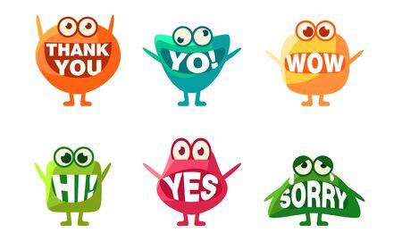 Ensemble de personnages de monstres mignons, Emojis colorés avec des mots dans la bouche, Merci, Yo, Wow, Salut, Oui, Désolé Illustration vectorielle