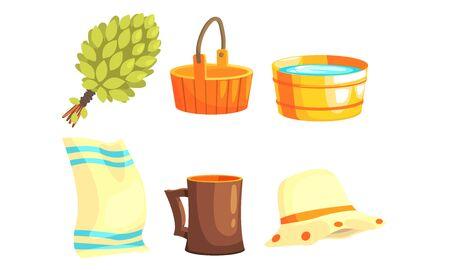 Sauna or Bathhouse Equipment Set, Birch Broom, Wooden Bucket, Basin, Towel, Hat and Mug Vector Illustration Çizim