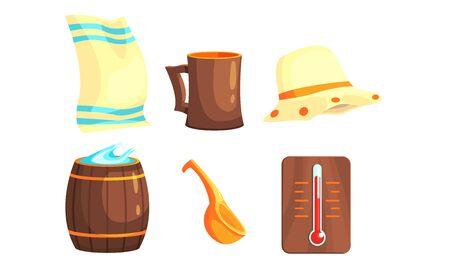 Sauna or Bathhouse Equipment Set, Towel, Hat, Wooden Barrel, Ladle, Thermometer Vector Illustration Çizim