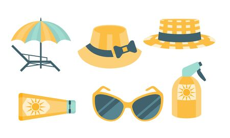 Skin Protection Set, Beach Sun Safety, Hat, Umbrella, Sunglasses, Sunscreen Vector Illustration