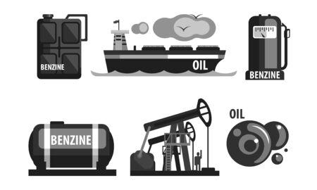 Oil Industry Production Set, Gasoline Processing Symbols Flat Vector Illustration