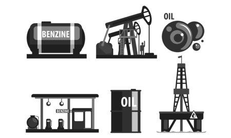 Oil Industry Production Set, Gasoline Processing Black Symbols Flat Vector Illustration