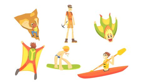 People Outdoors Activities Set, Skydiving, Surfing, Canoeing, Skiing, Mountaineering Vector Illustration Çizim