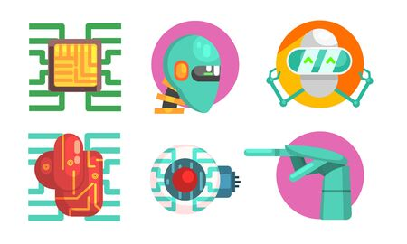 Artificial Intelligence Icons Set, Robotics and Technology Symbols Vector Illustration Banque d'images - 129711740