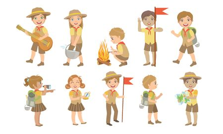 Cute Kids Scouts Camping Set, Cute Boys and Girls in Scout Costumes Cooking, Playing Guitar, Hiking Vector Illustration Stockfoto - 129711744