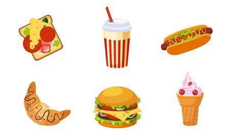 Fast Food Dishes, Drink and Dessert Set, Croissant, Ice Cream, Burger, Sandwich, Soda Drink, Hot Dog Vector Illustration