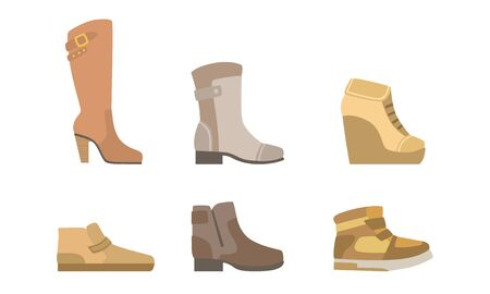 Male and Female Shoes Set, Footwear for Autumn or Winter Seasons Vector Illustration