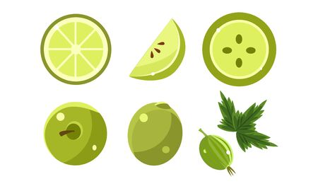 Green Fruits and Berries Set, Lime, Apple, Gooseberry Vector Illustration
