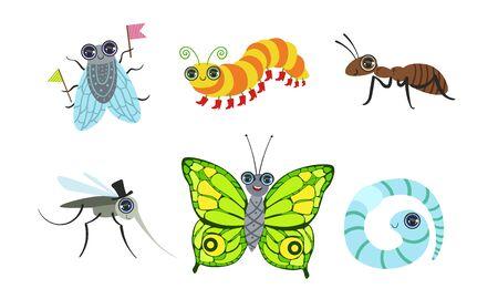 Colección de insectos lindos divertidos dibujos animados, mosca, hormiga, mosquito, mariposa, oruga, gusano ilustración vectorial Ilustración de vector