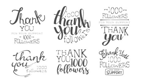Gracias por su apoyo Conjunto de etiquetas monocromáticas retro, 1000 Seguidores Insignias Ilustración vectorial