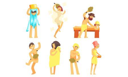 People Bathing in Sauna or Bathhouse Set, People Enjoying Hot Steam Procedures Vector Illustration Çizim