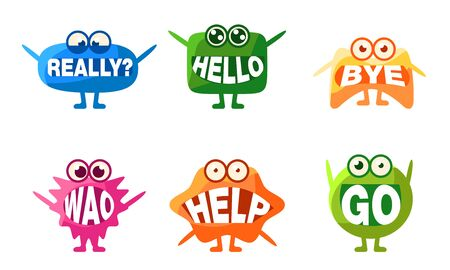 Cute Monsters Characters Set, Colorful Emojis with Words In Their Mouths, Really, Hello, Bye, Wao, Help, Go Vector Illustration Illustration