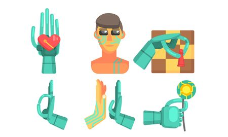 Artificial Intelligence Signs Set, Robotic Cybernetic Artificial Technology Objects Vector Illustration