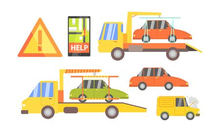 Car Evacuation Set, Road Assistance Service Help, Evacuator Tow Track and Damaged Cars Vector Illustration Foto de archivo - 129711293