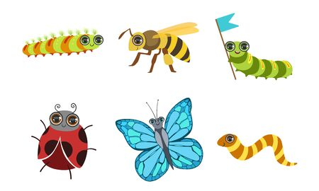 Collection of Cute Funny Cartoon Insects Set, Ladybug, Butterfly, Deer Beetle, Wasp Vector Illustration on White Background. Illustration